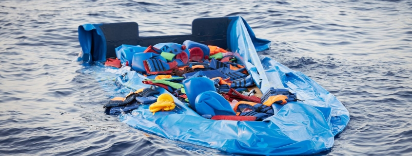 Destroyed rubber boat