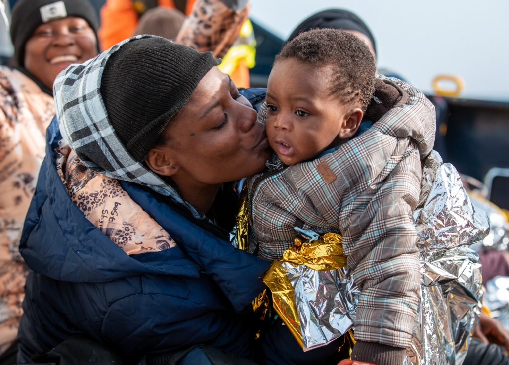 Refugee with child
