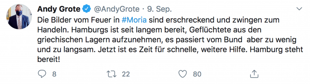 Twitter: Andy Grote zum Brand in Moria