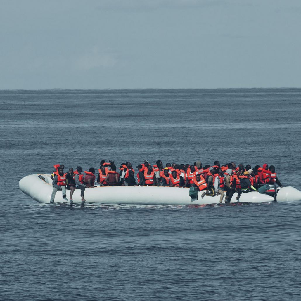 Schlauchboot im Mittelmeer